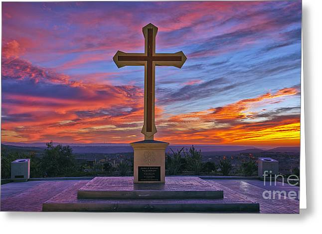 Christian Cross And Amazing Sunset Greeting Card