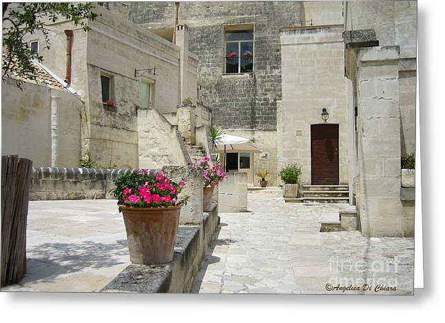 Matera With Flowers Greeting Card by Italian Art