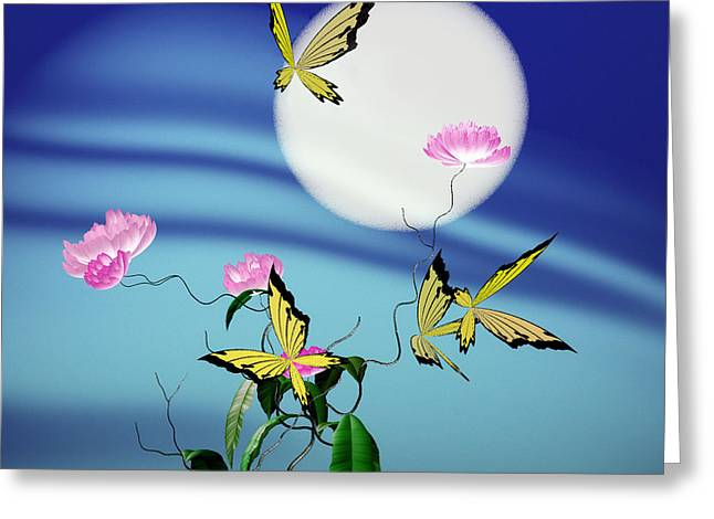Math Peony And Butterfly Greeting Card
