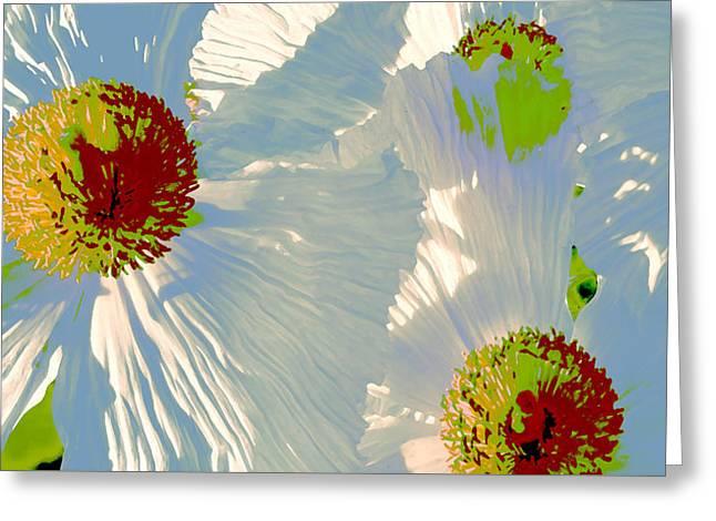 Matilija Poppies Pop Art Greeting Card by Ben and Raisa Gertsberg