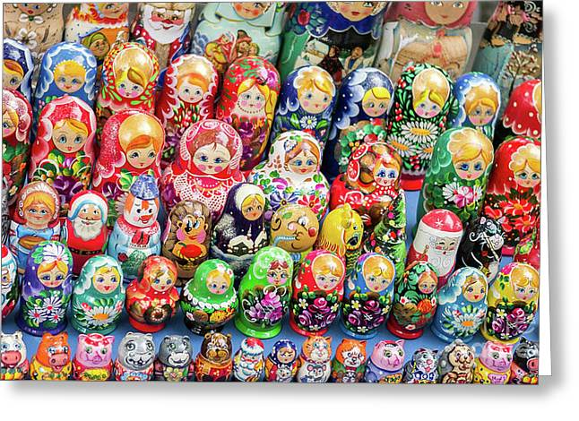 Matryoshka Dolls For Sale In New York City Greeting Card by Edward Fielding