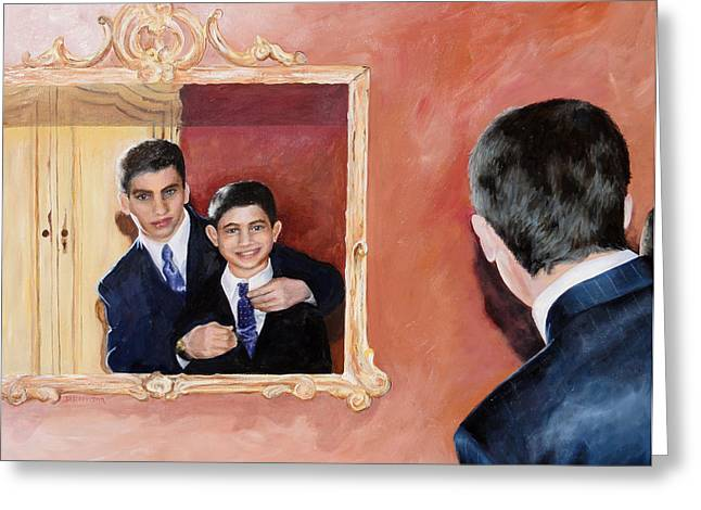 Matt And Perry Greeting Card by Denise H Cooperman