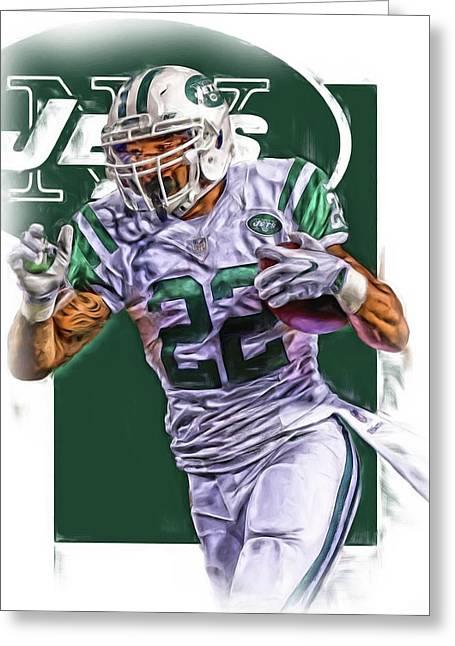 Matt Forte New York Jets Oil Art Greeting Card by Joe Hamilton