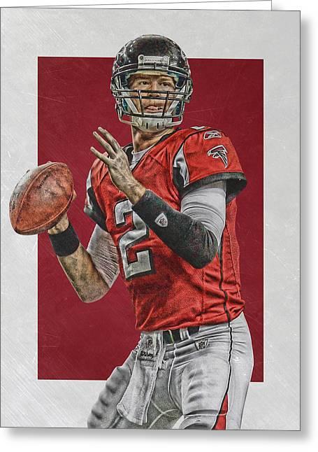 Matt Ryan Atlanta Falcons Art Greeting Card by Joe Hamilton