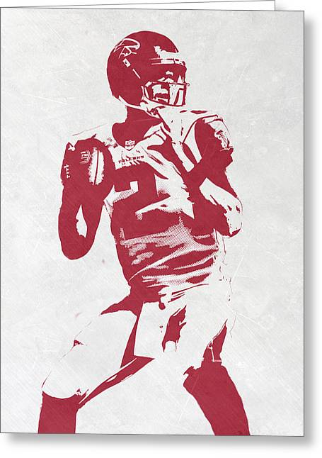 Matt Ryan Atlanta Falcons Pixel Art 2 Greeting Card by Joe Hamilton