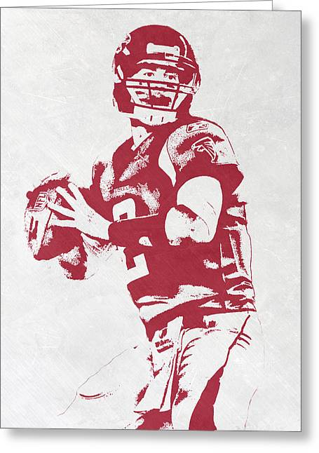 Matt Ryan Atlanta Falcons Pixel Art Greeting Card by Joe Hamilton