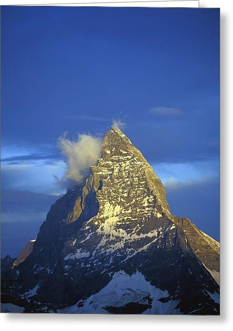 Swiss Photographs Greeting Cards - Matterhorn Mountain At Sunrise, Close Up Greeting Card by Axiom Photographic