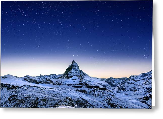Greeting Card featuring the photograph Matterhorn Night by Nikos Stavrakas