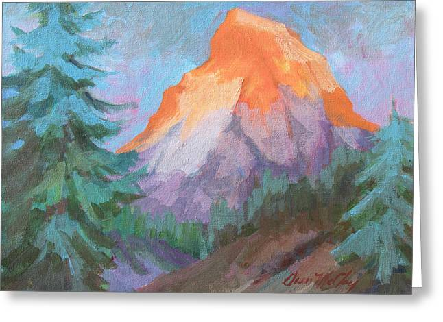 Greeting Card featuring the painting Matterhorn Sunrise by Diane McClary