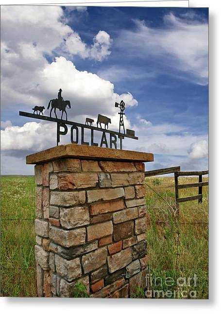 Pollart, Entrance Drive Way, Angle Iron Art , Rock And Mortar Sculpture Greeting Card