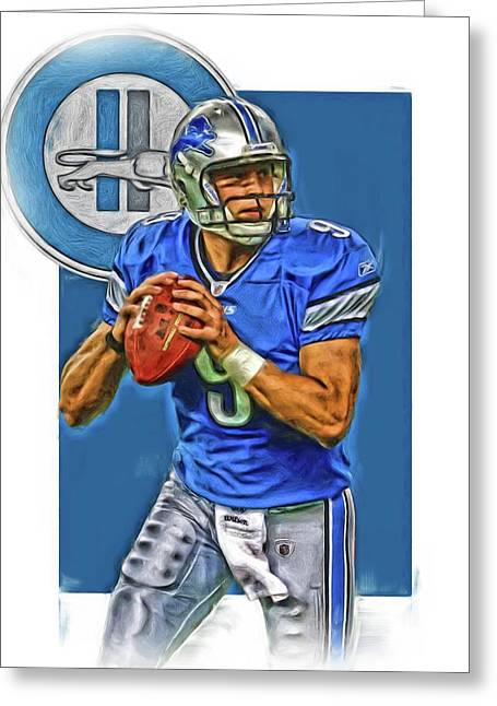 Matthew Stafford Detroit Lions Oil Art Greeting Card