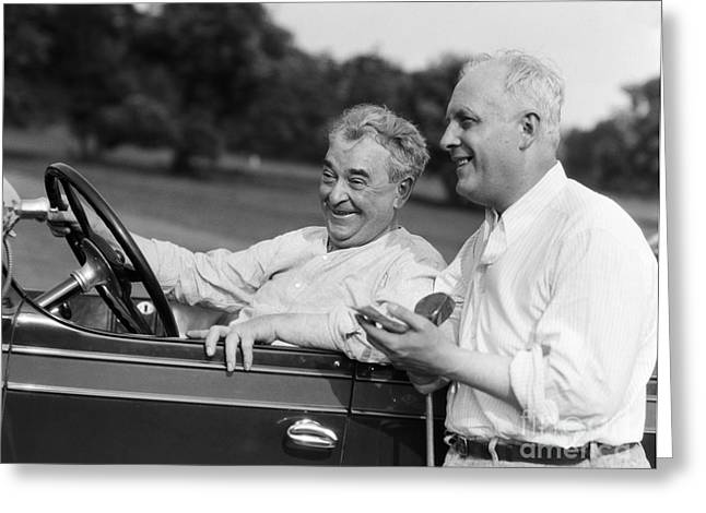 Mature Men At Golf Course, C.1920-30s Greeting Card by H. Armstrong Roberts/ClassicStock
