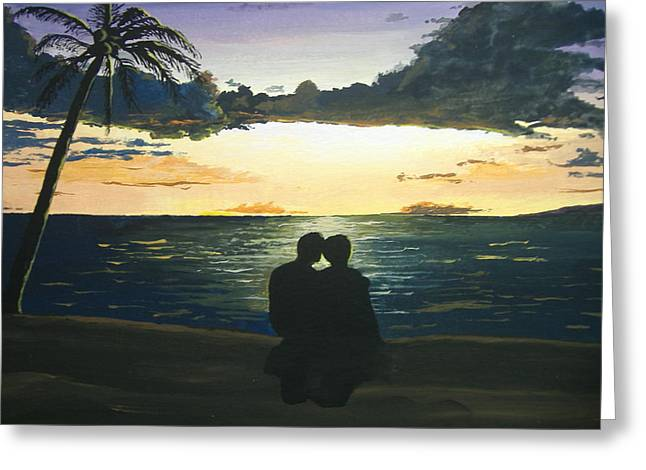 Greeting Card featuring the painting Maui Beach Sunset by Norm Starks