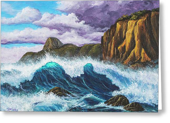 Greeting Card featuring the painting Maui Rugged Coast  by Darice Machel McGuire