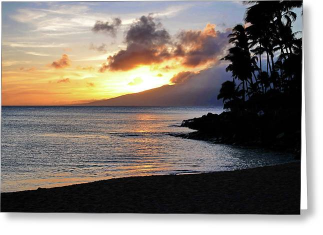 Maui Sunset Aglow Greeting Card