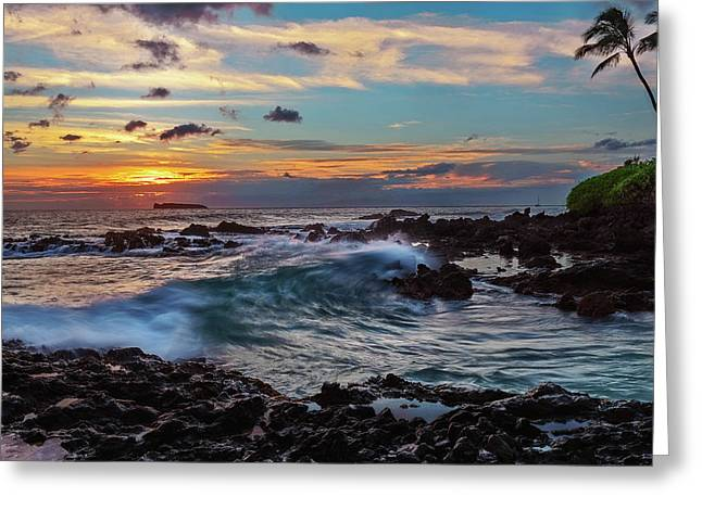 Maui Sunset At Secret Beach Greeting Card