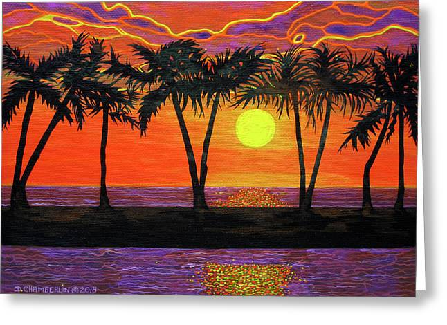 Maui Sunset Palm Trees Greeting Card