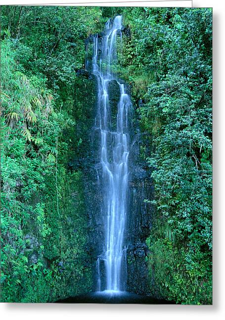 Maui Waterfall Greeting Card by Bill Brennan - Printscapes