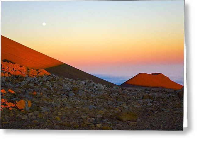 Mauna Kea Sunset With Full Moon Volcanoes National Park Hawaii Greeting Card