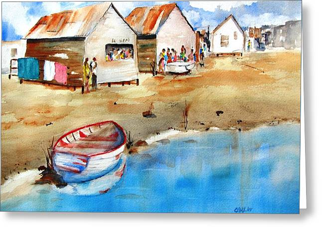 Mauricio's Village - Beach Huts Greeting Card