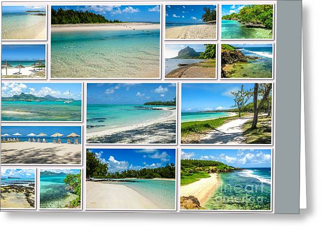 Mauritius Tropical Beaches Collage Greeting Card by Benny Marty