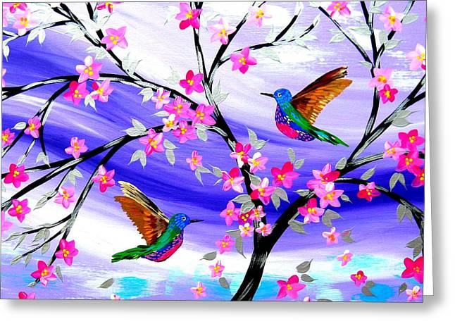 Mauve Fantasy With Sakura Greeting Card by Cathy Jacobs