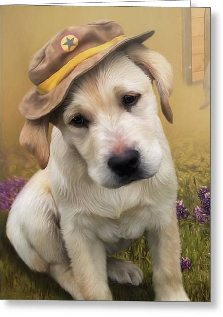 Maverick And Tori - Labrador Art Greeting Card