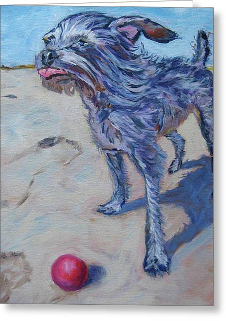 Max Against The Wind Greeting Card by Kellie Straw