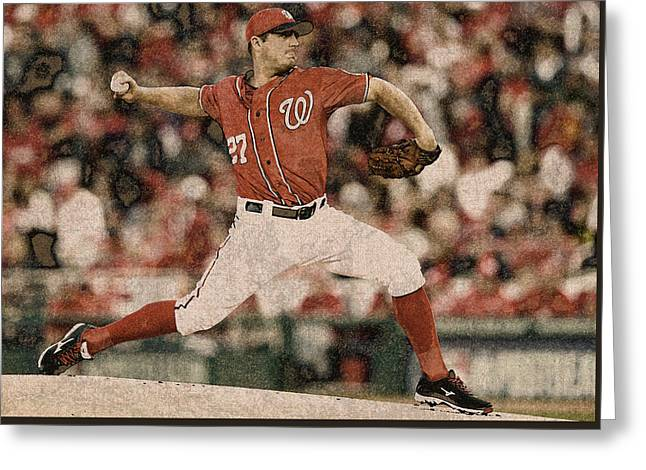 Max Scherzer Washington Nationals Painting Greeting Card by Design Turnpike