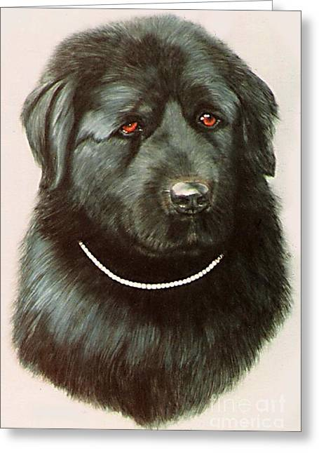 Greeting Card featuring the painting Maximillan And His Diamond Collar. by DiDi Higginbotham