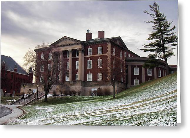 Maxwell Hall In Winter Greeting Card by Debra Millet