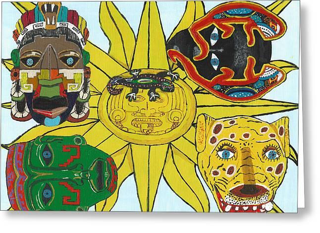 May  Aztec Masks Greeting Card