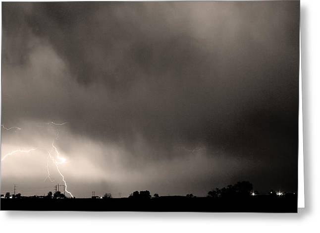 Lightning Strike Greeting Cards - May Showers 3 in Sepia - Lightning Thunderstorm 5-10-2011 Boulde Greeting Card by James BO  Insogna