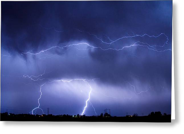 Striking Images Greeting Cards - May Showers - Lightning Thunderstorm 5-10-2011 Greeting Card by James BO  Insogna