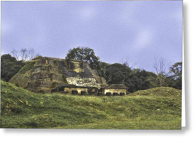 Mayan Ruins In Belize Greeting Card by Linda Constant