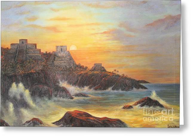Mayan Sunset Greeting Card by Sonia Flores Ruiz