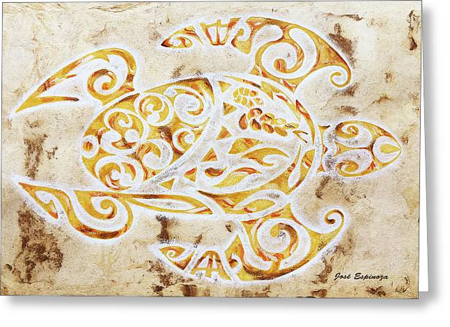 Greeting Card featuring the painting Mayan Turtle by J- J- Espinoza