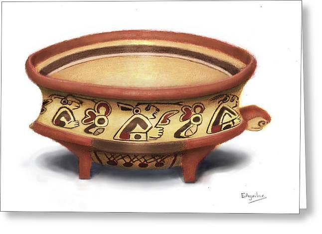 Mayan Turtle Vase Greeting Card