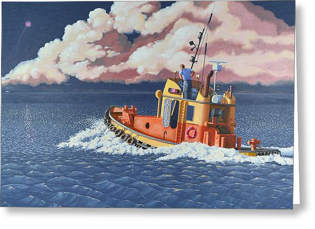 Greeting Card featuring the painting Mayday- I Require A Tug by Gary Giacomelli
