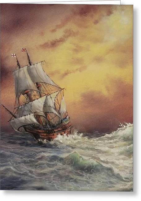 Mayflower At Sea Detail Greeting Card by Tom Shropshire