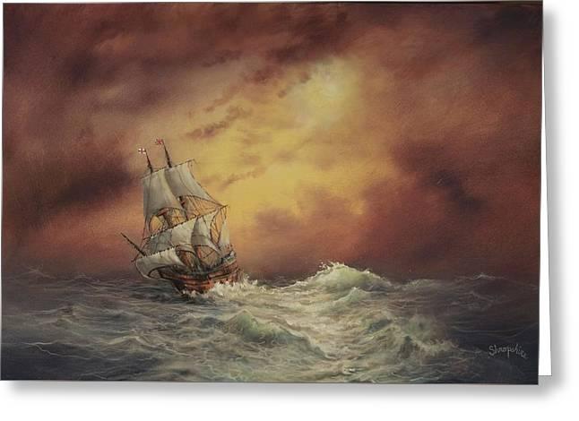Mayflower At Sea Greeting Card by Tom Shropshire