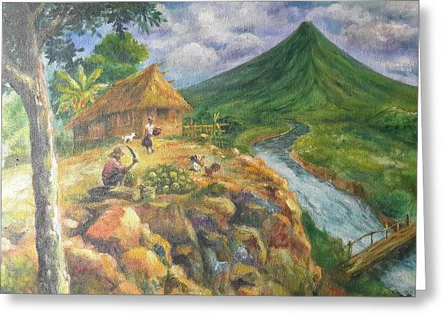 Mayon Scene #1 Greeting Card by Manuel Cadag