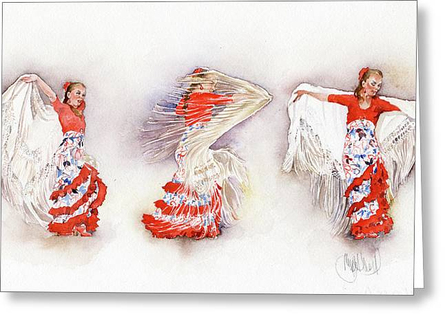 Mayte Beltran Dancing The Flamenco With Shawl Greeting Card