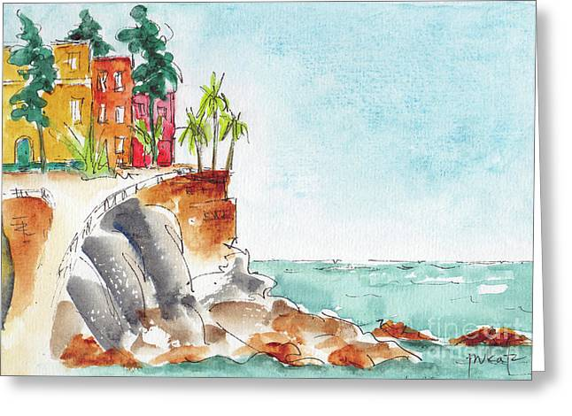 Greeting Card featuring the painting Mazatlan Cliff by Pat Katz