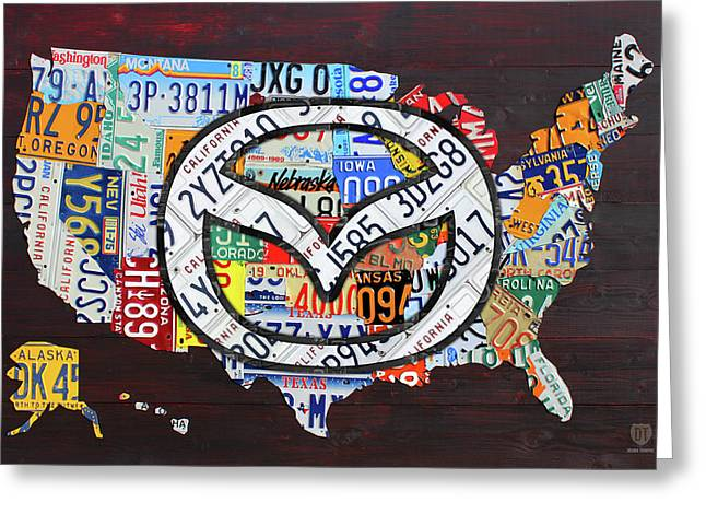 Mazda License Plate Map Of The Usa Greeting Card by Design Turnpike