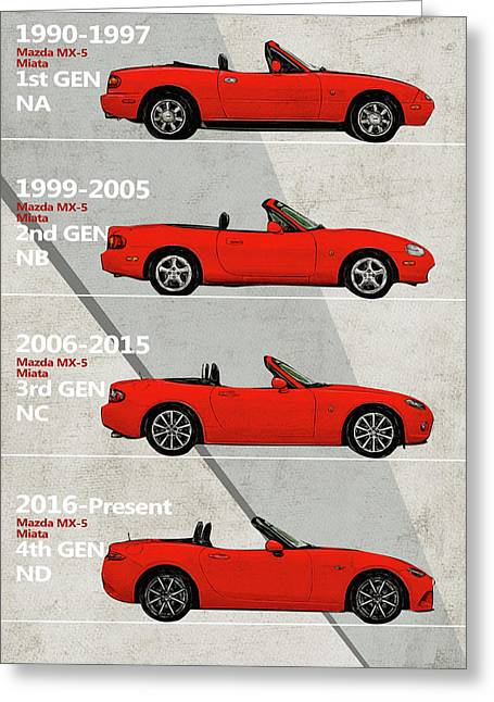 Mazda Miata Generation Poster - Mx5 Greeting Card