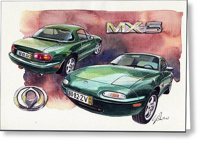 Mazda Mx5 Greeting Card by Yoshiharu Miyakawa