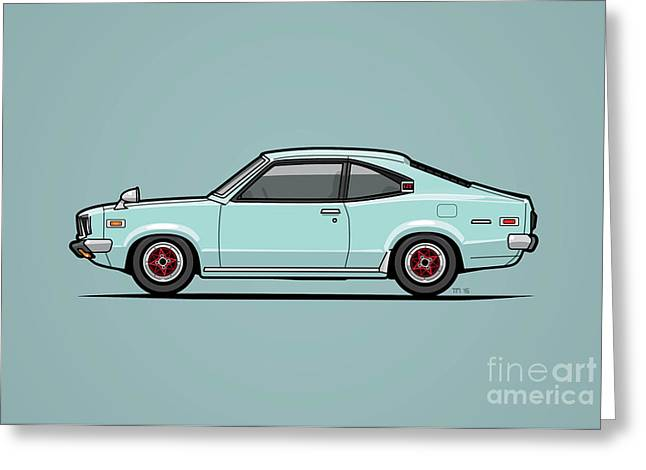 Mazda Savanna Gt Rx-3 Baby Blue Greeting Card by Monkey Crisis On Mars