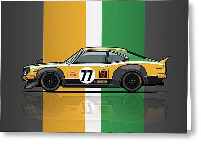 Mazda Savanna Gt Rx3 Racing Yoshimi Katayama 1975 Greeting Card by Monkey Crisis On Mars