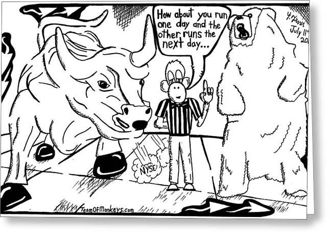Maze Cartoon Of Bulls And Bears At Nyse Yonatan Frimer Greeting Card
